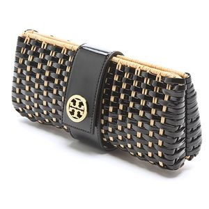 Tory Burch Woven Patent and Straw Clutch Bag